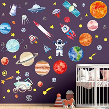 4 Sheets Space Wall Stickers, Solar System Wall Stickers for Kids