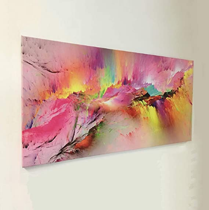 Abstract Colorful Aurora Canvas Wall Art Pink Background Artwork