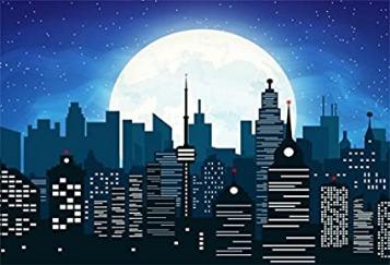 Cartoon Modern Super City Wallpaper Drape