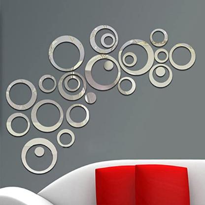 Circle Mirror DIY Wall Sticker Wall Decoration 24pcs Grey