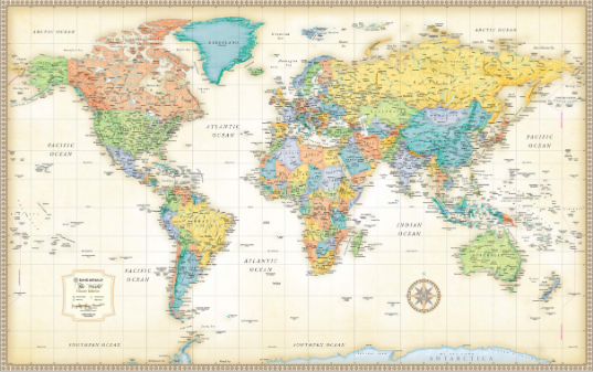 Classic Edition World Wall Map Paper Rolled Map