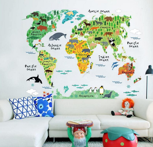 Wall stickers of colorful animals for children's rooms