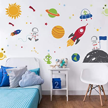 Outer Space Wall Decals Rocket Spaceship Robot