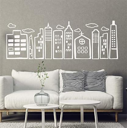 Doodled City Skyline Wall Decal