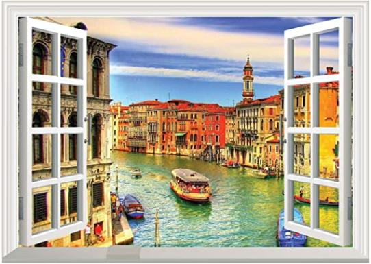 Dream of Venice 3D Window View Wall Art