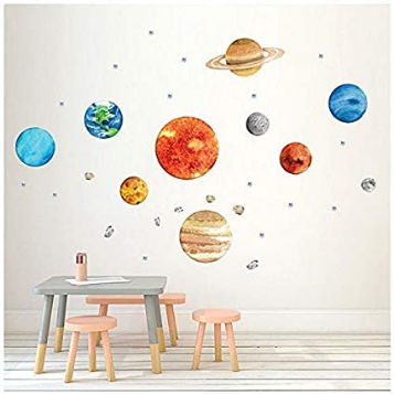 Space Planet Wall Stickers Decals for Children Nursery Bedroom