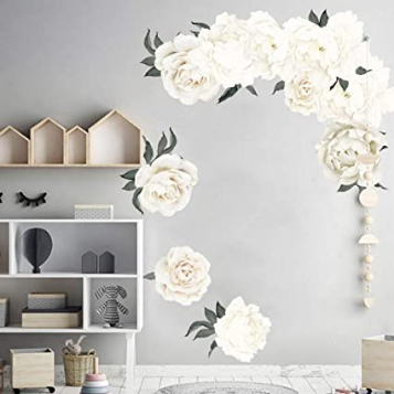 Flowers Wall Decals Peony Wall Stickers Elegant Blossom Rose Wall Poster