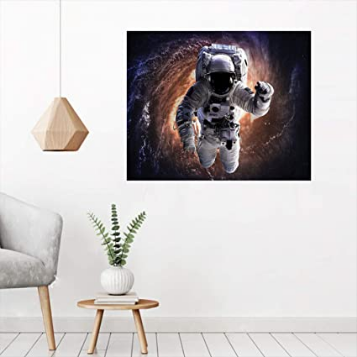 Galaxy Wall Art-Peel and Stick, Astronaut in Outer Space with Andromeda Print