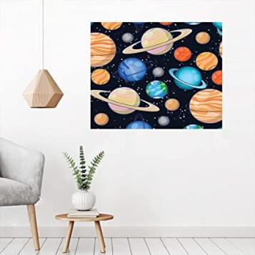 Cute Galaxy Space Art Solar System Mural Wall Art
