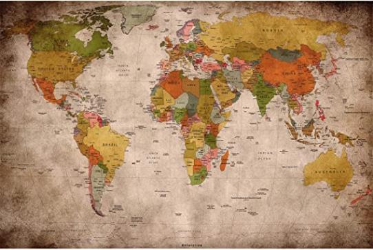 Retro World Map Wall Mural