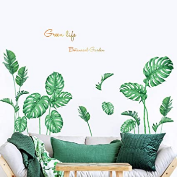 Green Monstera Leaf Wall Decor, Nature Palm Plants Wall Decorations