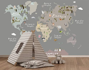 Gray Background for Kids Wallpapers World Map