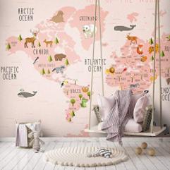 Kids Map Animal Wallpaper Nursery Wall Poster