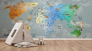 Children Wallpaper Wall Mural Kids World Map
