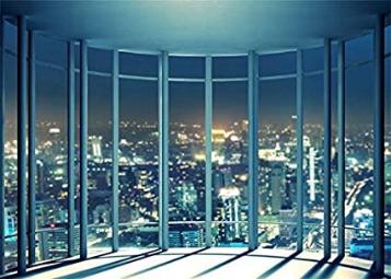 Viewing Room Office Shining Lights New York City Wallpaper