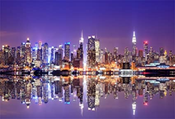 New York City Night View  Skyscrapers Background for Photography