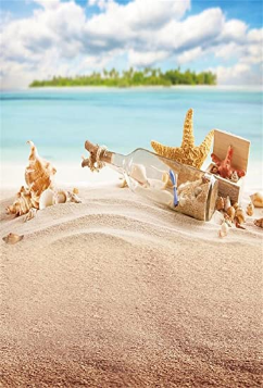 Summer Golden Beach Backdrop Seashells Starfish Wallpaper