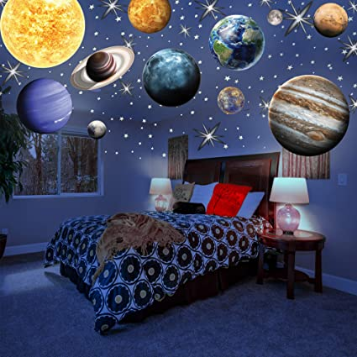 The Dark Planets With Colorful Stars and Solar System Wall Stickers