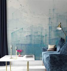 Blue Cityscape Wall Mural Landscape Wall Print Architect's Office Decor