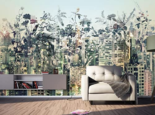 Wallpaper Pastel Cityscape Mural Floral Wall Mural Rustic Decor