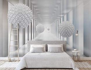 Abstract Wallpaper Mural 3D Corridor Wall Mural Nordic Gemetric Ball