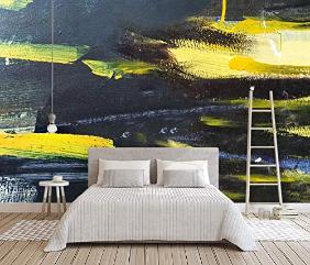 Murwall Abstract Wallpaper Black Yellow Splash Wall Mural Dark Oil Painting Art Wall Print Minimalist Home Decor Cafe Design