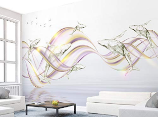 Dolphin Wall Mural Colorful Whale Wall Print Fish Wall Art