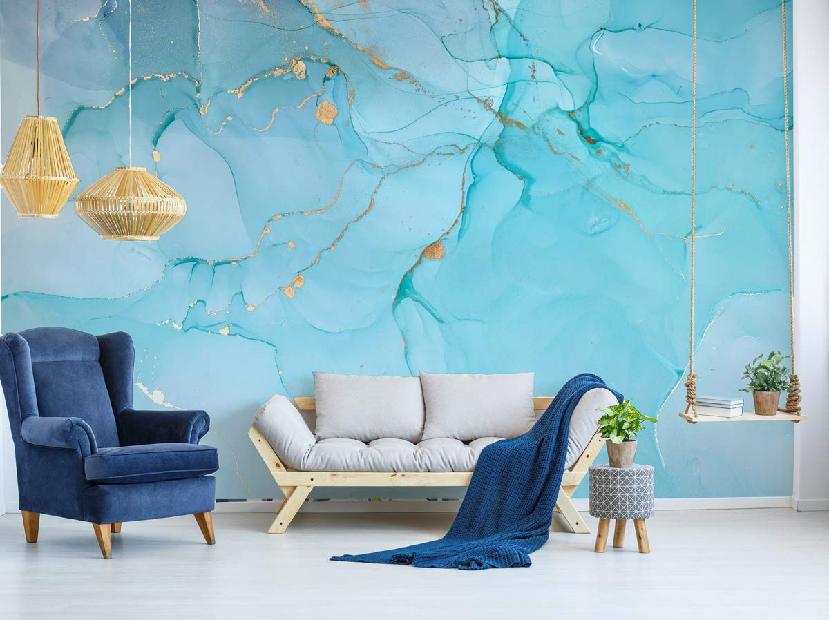 Murwall Art Wallpaper Peel and Stick Self Adhesive Marble Wall Mural Removable Abstract Wallpaper Light Blue Wall Mural Gold Wallpaper Living Room