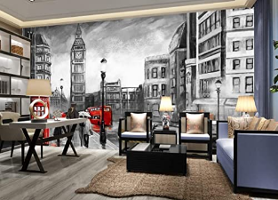 Cityscape Mural Charcoal City Landscape Mural Wall