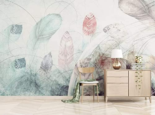 Feather Wallpaper Wall Murals Soft Feathers Abstract Line Drawing Wall Art