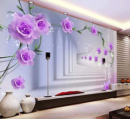 Murwall Floral Wallpaper Abstract Mural Wall Pink Roses
