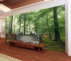 Forest Wallpaper Mural Mural Landscape Wall Art Natural Decor