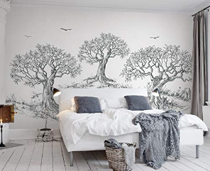 Wallpaper Charcoal Tree Wall Mural Jungle Wall Mural Design