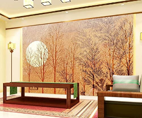 Forest Wallpaper Fullmoon Wall Mural Tree