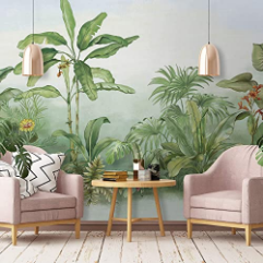 Wall Art Tropical Home Decor Exotic Cafe Design Living Room