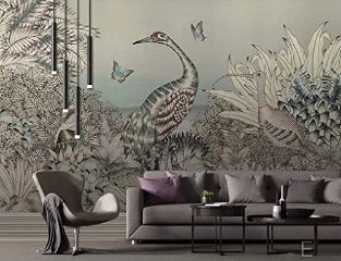 Jungle Wall Mural Wall Art Retro Decor Cafe Design Living Room
