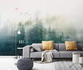 Wallpaper Misty Jungle Wall Mural Sunrise Wall Mural Rustic Decor Cafe Design