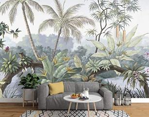 Forest Wallpaper Retro Jungle Mural Lake Landscape Print