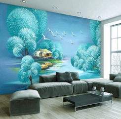 Turquoise Wildle Wall Mural