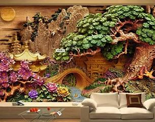Wallpaper Retro Riverscape Wall Mural Nostalgic Decor Cafe Design Entryway