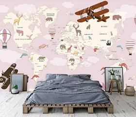Pink World Map Mural Mural, Vintage Aircraft Print Mural Wall