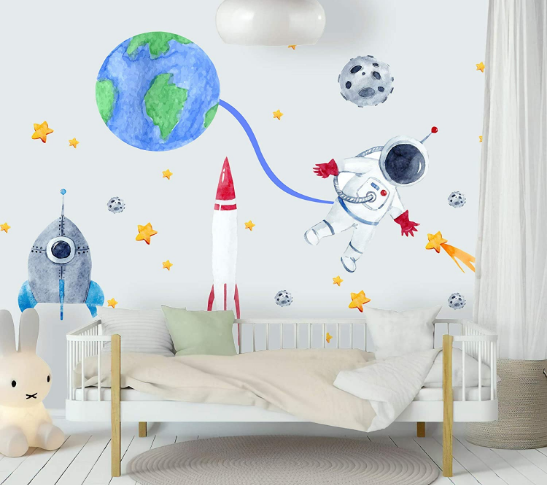 Wall Decals Watercolor Wall Stickers Red Blue Rocket Peel and Stick