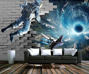 Astronaut Wall Mural Galaxy Starry Wall Print Space Wall Art