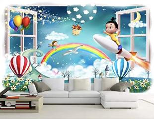 Cartoon Little Kids Mural Hot Air Balloon Childroom Wall Decor