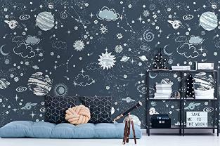 Dark Space Starry Sky Wall Mural