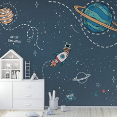 Cartoon Space Wall Mural Colorful planets