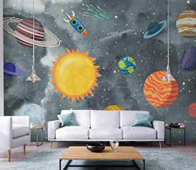 Space Wall Murals, Watercolor Murals Nursery Solar System Wall Murals