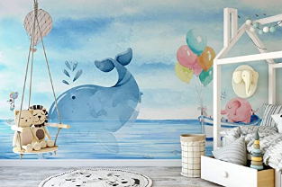 Wallpaper for Kids Pink Elephant Wall Mural Cute Whale Wall Print