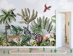 Tropical Forest Wall Mural Exotic Animals Wallpaper