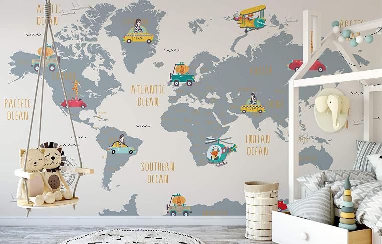 Murwall Wallpaper for Kids World Map Mural